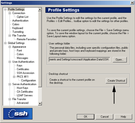 Secure Shell profile settings