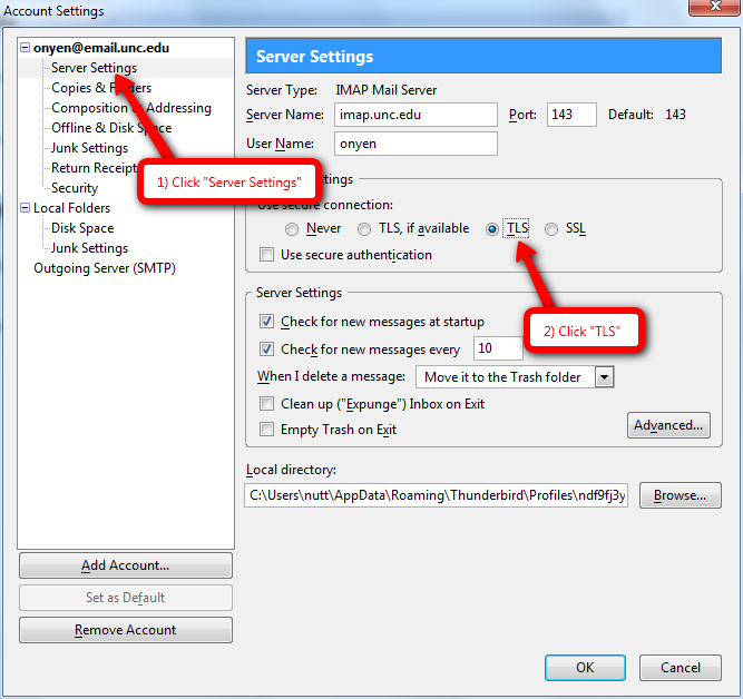 Configure tls for mozilla thunderbird sils unc edu
