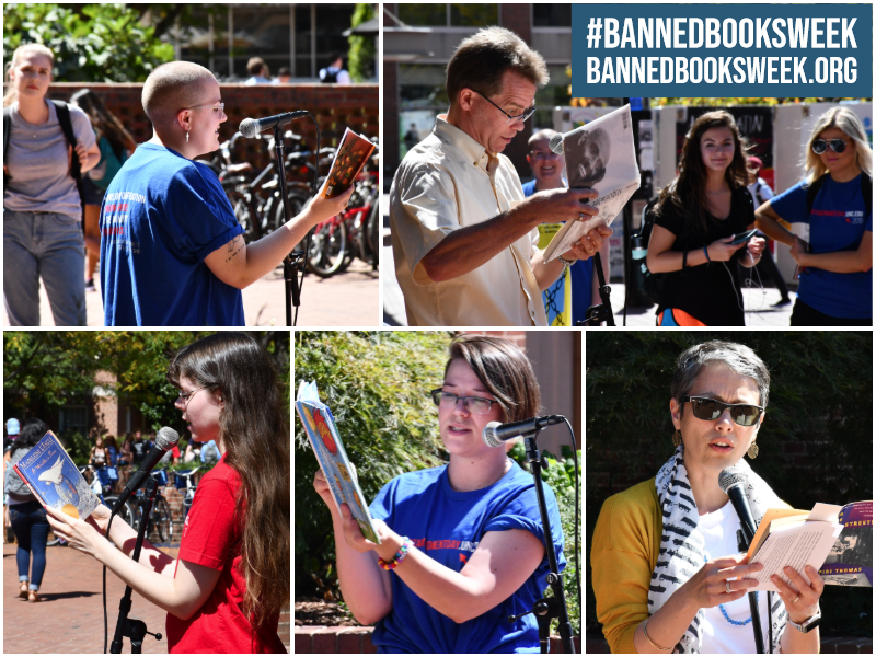 Collage of photos of people reading from banned books.