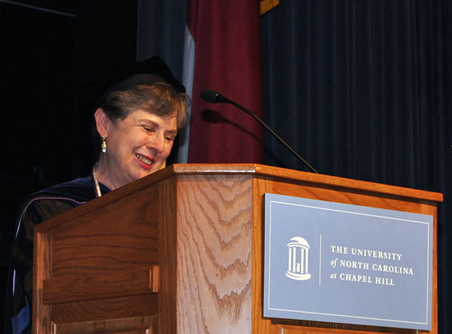 Dr Barbara Moran at podium