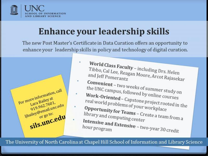 Post Master's Specialty in Data Curation offered at UNC at Chapel ...
