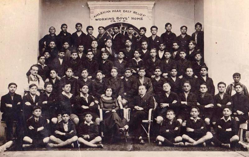 Old photograph of dozens of boys at NER home