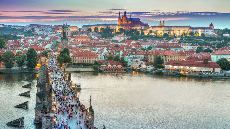 Landscape photo of Prague.