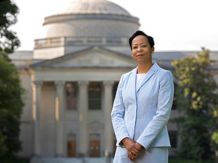 Elaine Westbrooks in front of Wilson Library