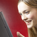 photo of girl at computer