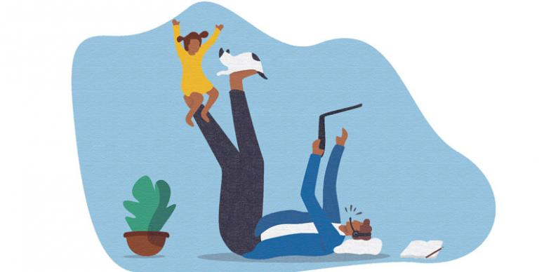Graphic of man balancing child and a cat on each foot while trying to have a conference call on a laptop.